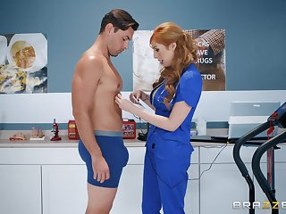 Redhead nurse Lauren Phillips pounded firm and sprayed nigh cum