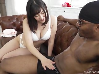 Otomi Rina enjoys dick eating before her black collaborate cum on her face