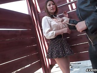Several dudes are toying hairy pussy of Japanese unspecified Kei Kitagawa in public