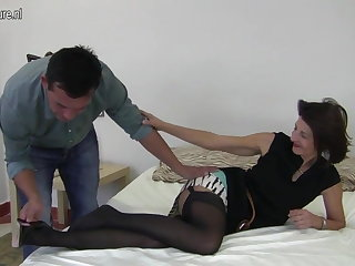 Muted British mature mom fucking her boy