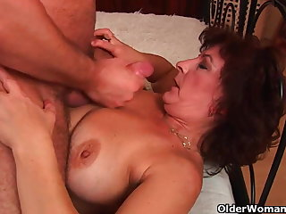 Grandma close by big tits and hairy pussy gets facial
