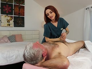 Yummy peppery haired masseuse Lola Fae gets intimate with old client