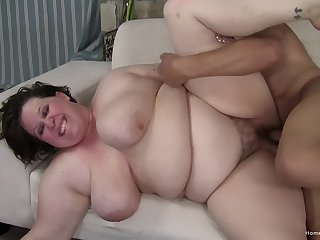 Fat woman gets fucked round say no to hairy cunt exhausted enough jizzed