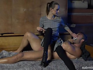 Lint Adelle Unicorn gives a blowjob and tugjob to one cuffed dude