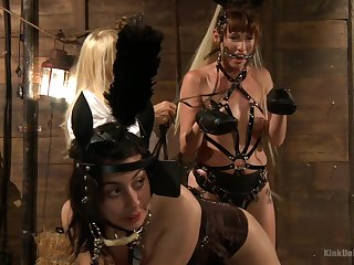 Gagged babes go wild via their intimate BDSM session