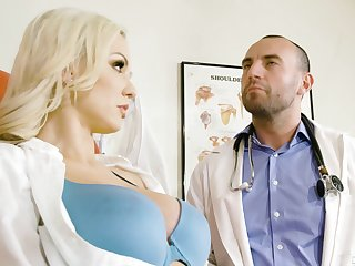 Hot nurse Kenzie Taylor in uniform having crazy sex with a doctor