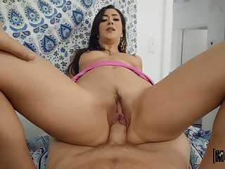 See her trimmed pussy being gungy plus enlarged