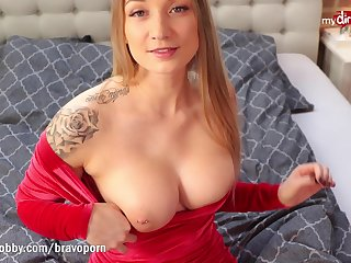 FionaFuchs bareback mad about nigh her tight red dress and swallows
