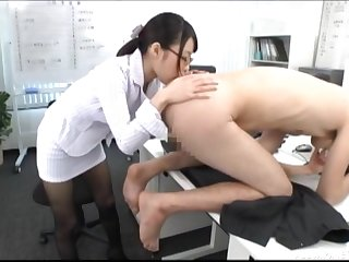 Japanese wordsmith with glasses licks the whole conclave of her boss
