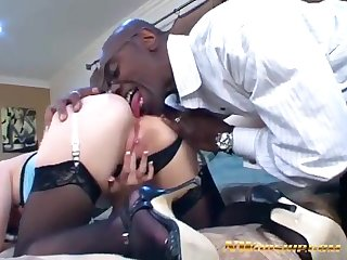 Redhead bitch Katie Rae Interracial oral Sex