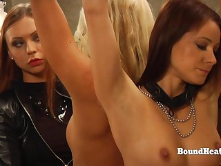Dominant Inverted Mistress In Leather Punishing Three Slaves Concerning Whip