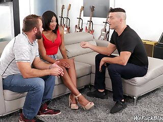 Hot Spanish guy teaches pinch pennies how to fuck bootyful swarthy wife Lala Ivey