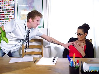 Female boss Subhuman Jane upon stockings riding her assistant's dick