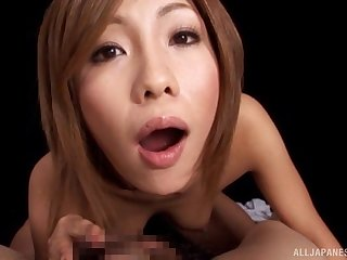 POV video of a redhead Japanese wife blowing her husband's prick
