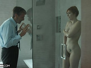Old creepy man spying on a hot MILF with big tits in along to shower