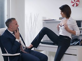 Lady boss Adriana Chechik wants to be fucked by her strong right arm
