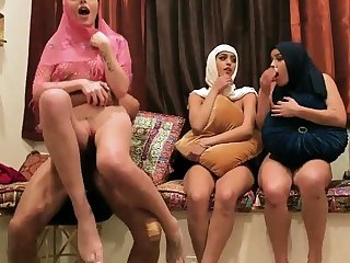 Milf wife partner's debouchment Hot arab gals have foursome