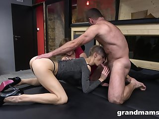 Two adult but still awesome whores love when their shaved cunts are banged