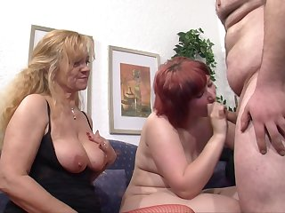 Chubby redhead wife shares the brush sweetheart with a mature blonde lady
