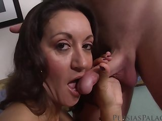 Adult brunette with big chest likes the way her lover is eating her pussy, before fucking her