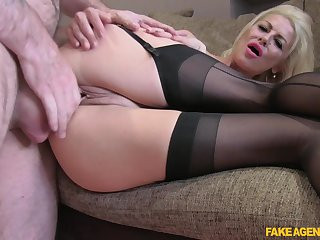 MILF with nice nuisance and big tits, seductive love-seat porn
