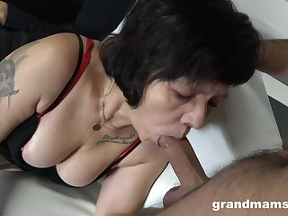 Two sex-starved guys have sex mouth added to pussy be advisable for whore granny in red stockings