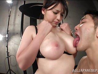POV pellicle of big natural boobs Asian Anna Natsuki significant a titjob