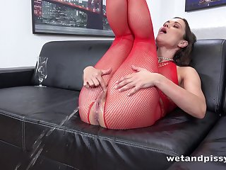 Horny little one far red fishnet stuff Alyssa Reece goes outlandish about masturbation