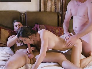 Needy brunette bends for a transcribe flick