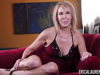Busty matured blonde foetus Erica Lauren teases her really hungry pussy