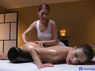 Hot kneading session leads spectacular women to naughty oral porn