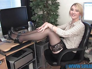 Horny chick Katie K wears stockings while fingering their way pussy